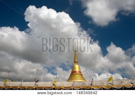 Samut Prakan,Thailand - October 10,2011 : Golden Pagoda is the Luang Pho To, the main Pagoda of Wat Bang Phli Yai Nai.on October 10,2011,Bang Phli District, Samut Prakan Province, Middle of Thailand.