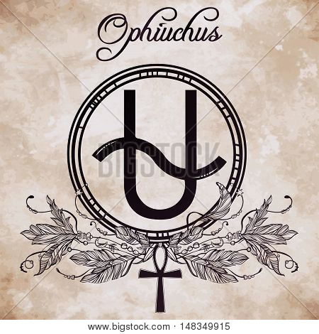 Ophiuchus constellation with feathers and ankh. Highly detailed zodiac icon. Freehand vintage style drawing. Isolated vector illustration.