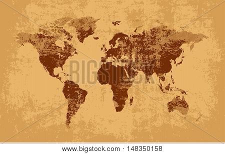 World map grunge old style vector old style