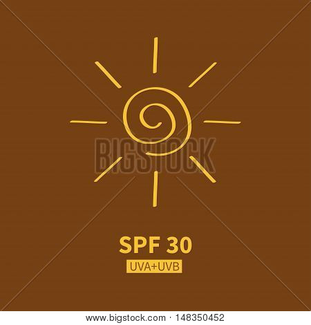 Yellow spiral sun shining sign symbol. Swirl shape. Hello summer. SPF sun protection factor. UVA UVB sunscreen cosmetic tag badge label. Flat Isolated Brown bronze background. Vector