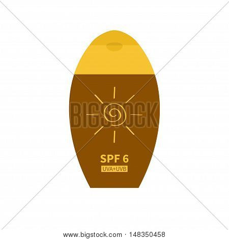 Tube of suntan cream. Sun lotion. Bottle dispenser. Solar defence icon. SPF 6 sun protection factor. UVA UVB sunscreen. Isolated. White background. Flat design. Vector illustration