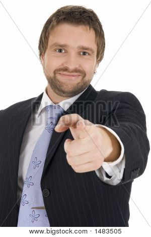Young Business Man Gesturing That He Wants You In His Team