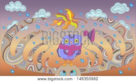 The scene on the theme of autumn with an owl and a moose on the background of clouds and rainy skies