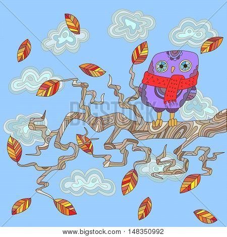 Autumn scene with an owl on a tree branch on a background cloudy sky and leaves