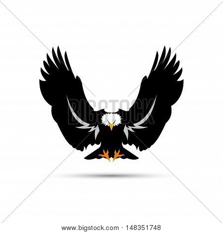Vector sign black eagle  isolated in white
