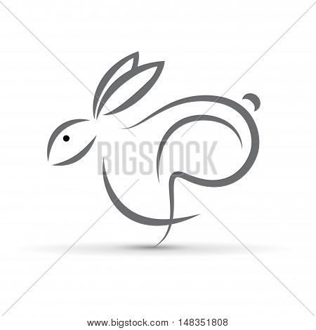 Vector sign abstract hare  isolated in white