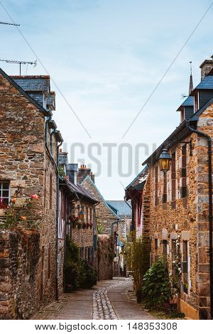 street in old Breton Brittany town Treguier, France
