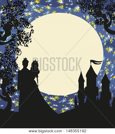 Magic castle and romantic couple princess with prince at night  , vector illustration
