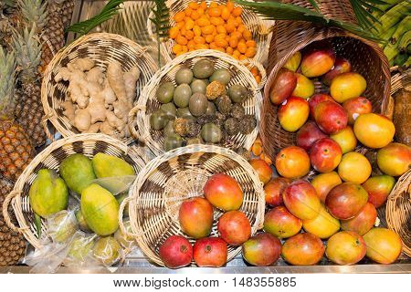 Composition Of Exotic Fruits Isolated On Market