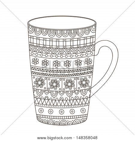 Vector hand drawn pot with doodle ornament. Isolated. Coloring page antistress for adult and children. Outline cup of tea. Black and white colors.