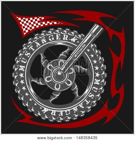 Moto wheel Vector Emblem Symbol inside wheel and tribal