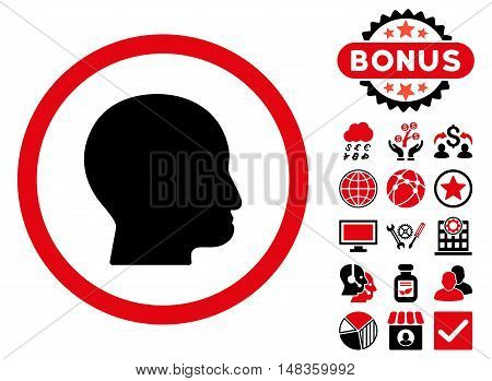 Bald Head icon with bonus symbols. Vector illustration style is flat iconic bicolor symbols intensive red and black colors white background.
