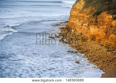 Coastline near the Great Ocean Road and Bells Beach famous beach of Surf in Torquay Victoria Australia