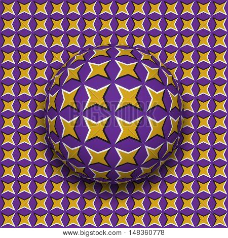 Ball with a four pointed stars pattern rolling along four pointed stars surface. Abstract vector optical illusion illustration. Motley background and tile of seamless wallpaper.