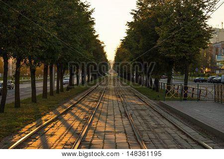 vitebsk city shade trees sunset tram rails