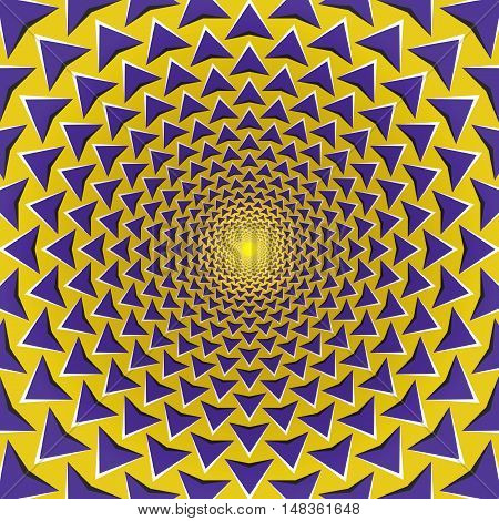 Optical illusion background. Purple arrows fly away circularly from the center on yellow background. Yellow purple motion background.