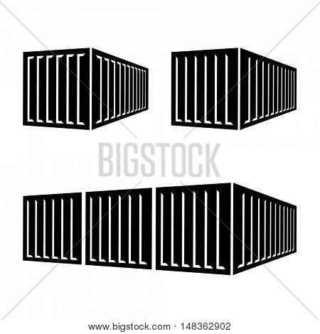 transportation cargo container black symbol vector