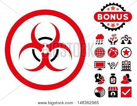 Bio Hazard icon with bonus symbols. Vector illustration style is flat iconic bicolor symbols, intensive red and black colors, white background.