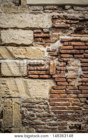 antique brick wall detail with pattern composition