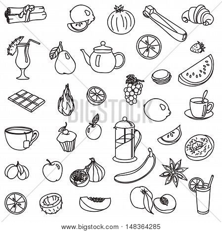 foodstuffs. fruit. vegetables. food. set of vector sketches on a white background
