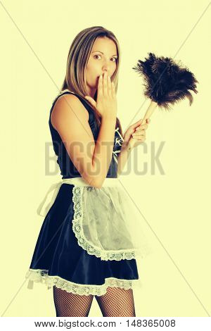 Woman wearing french maid costume