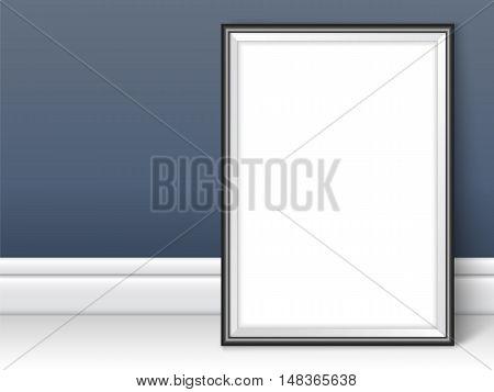 Frame Template Near Dark Wall On The Floor Realistic Vector