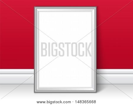 Frame Template Near Red Wall On The Floor Realistic Vector