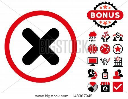 Cancel icon with bonus elements. Vector illustration style is flat iconic bicolor symbols, intensive red and black colors, white background.