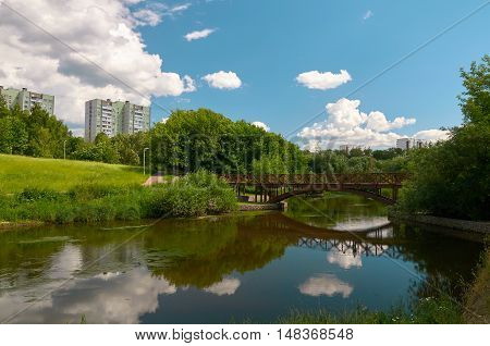 Beautiful summer day on the Yauza river in Moscow