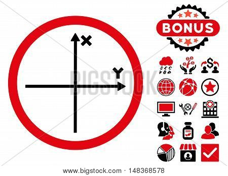 Cartesian Axis icon with bonus pictures. Vector illustration style is flat iconic bicolor symbols, intensive red and black colors, white background.