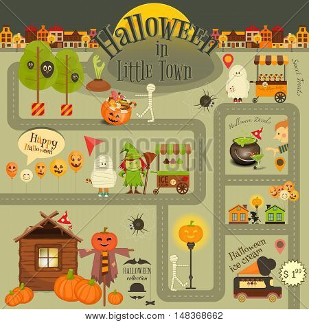 Halloween in Town - Infographic Card Street Food and October Party Symbols. Sweet Treats and Jack-o-lantern. Invitation Card for Party. Vector Illustration.
