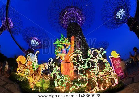 Singapore, September 10, Gardens by the bay Mid-Autumn festival (Lantern Festival) Light up with big lantern between 3 to 18 September 2016.