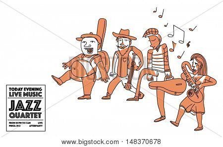 Walking jazz band musicians. Creative line art doodle illustration.