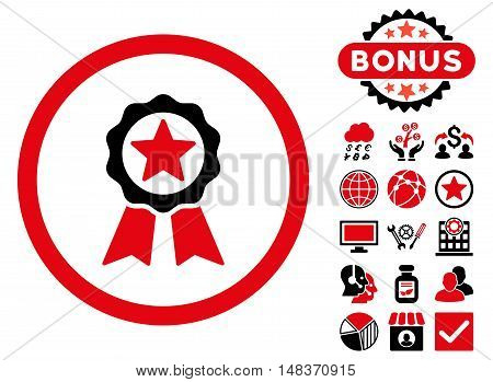 Certification Seal icon with bonus pictogram. Vector illustration style is flat iconic bicolor symbols intensive red and black colors white background.