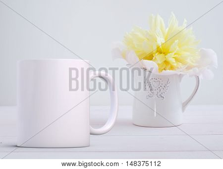 Mockup Styled Stock Product Image white mug that you can add your custom design or quote to.