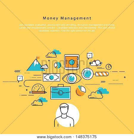 Flat line modern corporate business vector illustration design and infographic elements for money management, financial planning and accounting, investment, finance, banking, profit, savings concept