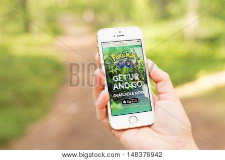 JURMALA LATVIA - July 13 2016: Pokemon Go website on mobile phone. Pokemon Go is a location-based augmented reality mobile game.