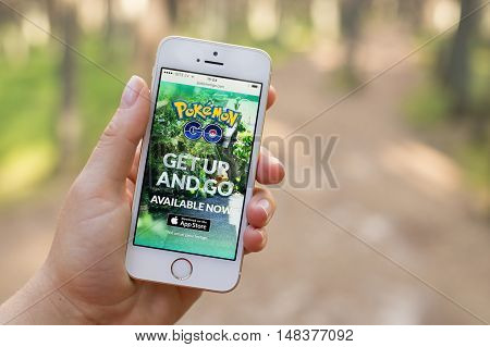 JURMALA LATVIA - July 13 2016: Pokemon Go was the most downloaded smartphone app in the United States in its first three days of release.