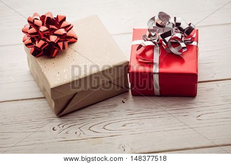 overhead view of two presents on the floor