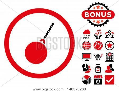 Destruction Hammer icon with bonus pictures. Vector illustration style is flat iconic bicolor symbols, intensive red and black colors, white background.