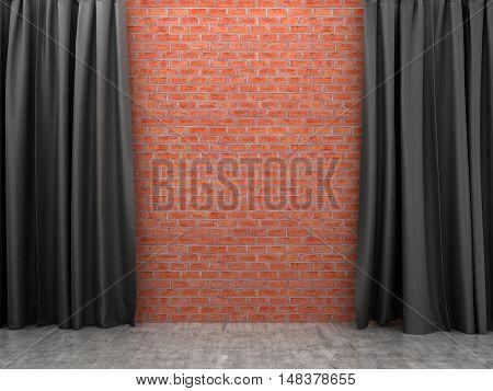 Ajar black curtain on a brick wall.3D illustration