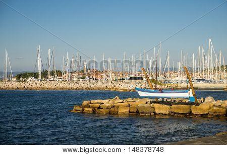 Izola town with sea on adriatic coast, Slovenia poster