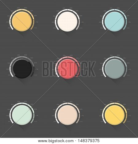 Set of color music button, volume knob with realistic designed shadow, range scale and dark background. Vector illustration.