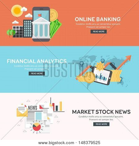 Flat design concept of business big data analysis, financial analytics, online banking, marketing stock news. Concepts for web banner and printed materials. Vector illustration.
