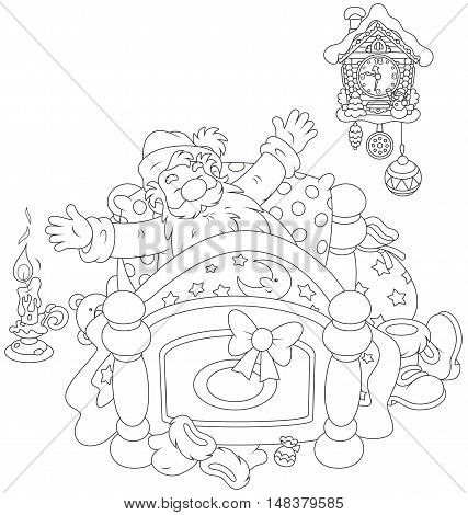 Santa Claus yawning and stretching oneself in his bed