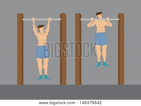 Cartoon half naked man doing pull up exercise using outdoor chin-up bar. Vector illustration isolated on grey background.