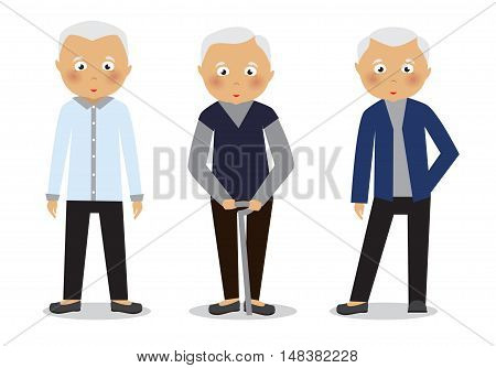 Old man isolated on a white background