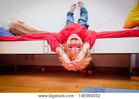 happy little boy having fun at home, kids playtime