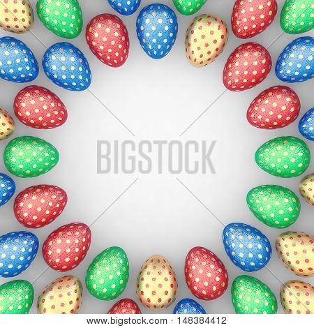 Decorated easter eggs on white background positioned as a frame copyspace , 3d illustration