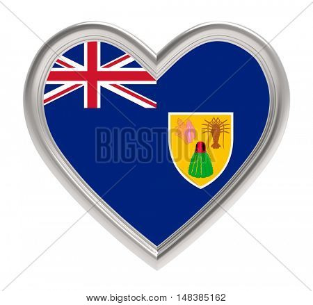 Turks and Caicos Islands flag in silver heart isolated on white background. 3D illustration.